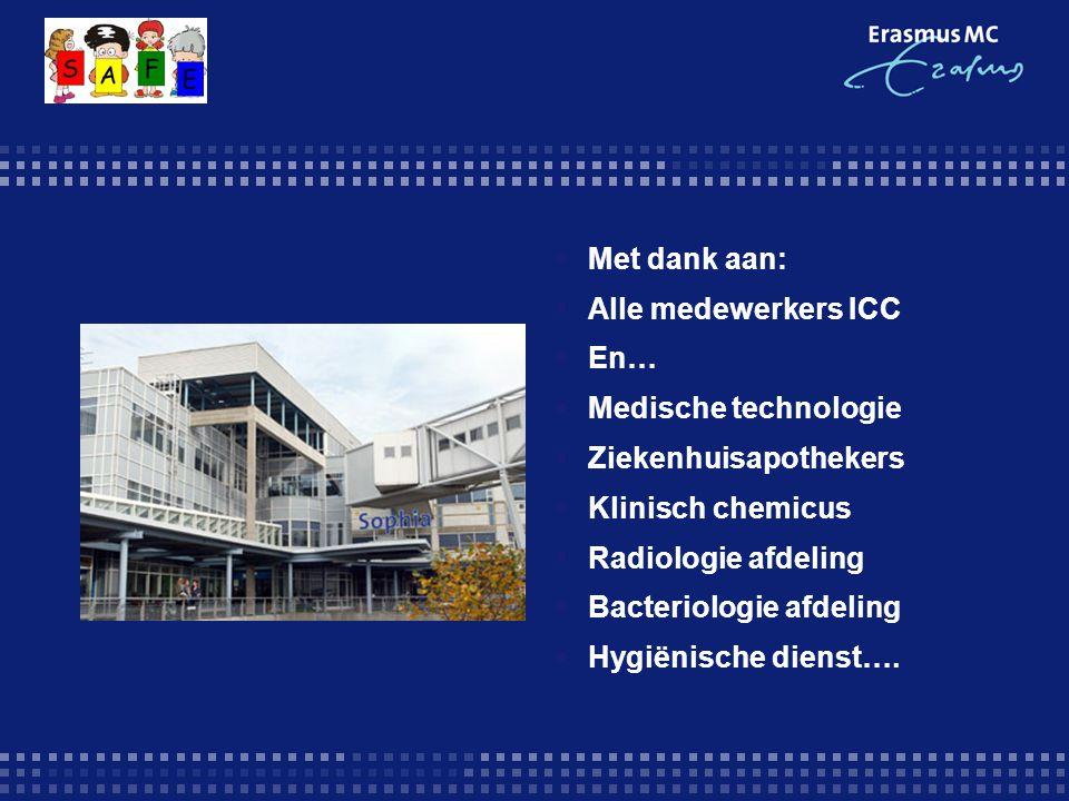 Met dank aan: Alle medewerkers ICC. En… Medische technologie. Ziekenhuisapothekers. Klinisch chemicus.
