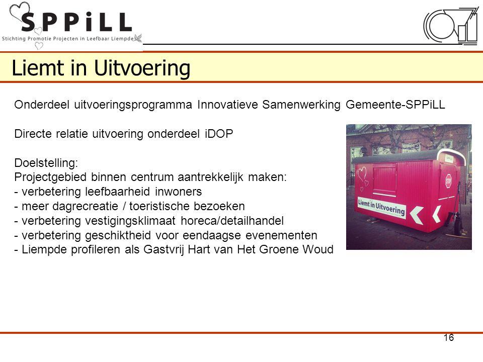 Liemt in Uitvoering Onderdeel uitvoeringsprogramma Innovatieve Samenwerking Gemeente-SPPiLL. Directe relatie uitvoering onderdeel iDOP.