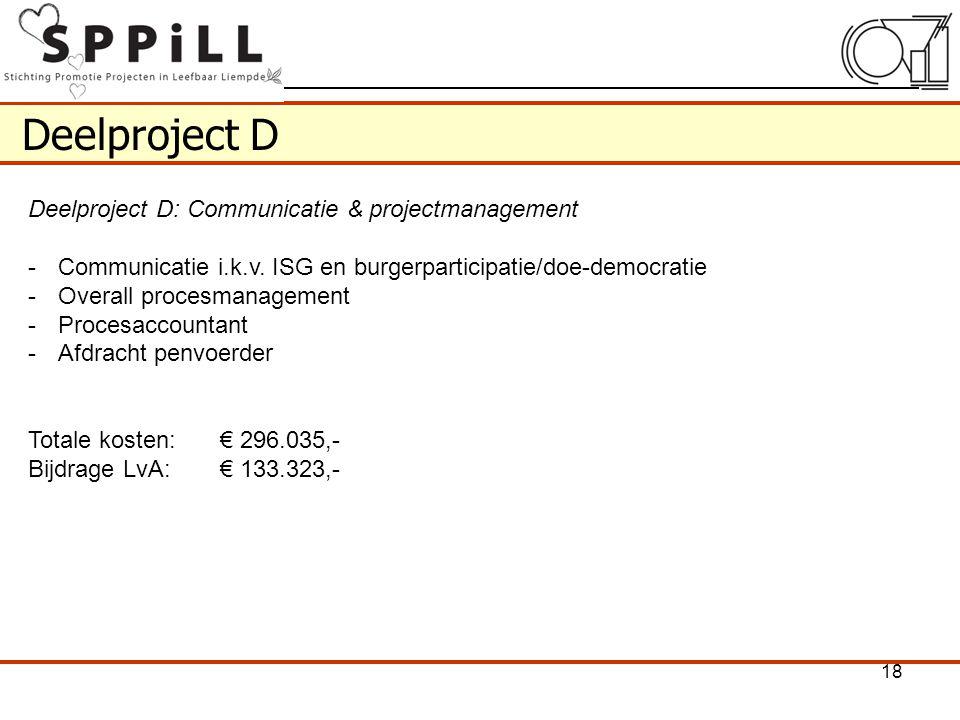 Deelproject D Deelproject D: Communicatie & projectmanagement