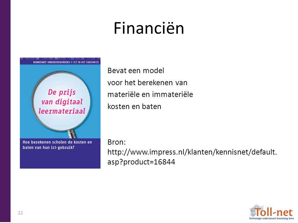 Financiën Bevat een model voor het berekenen van