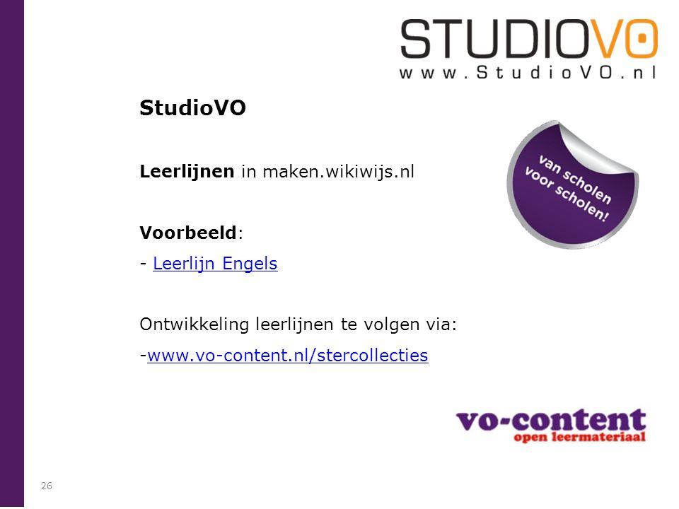 StudioVO Leerlijnen in maken.wikiwijs.nl Voorbeeld: Leerlijn Engels
