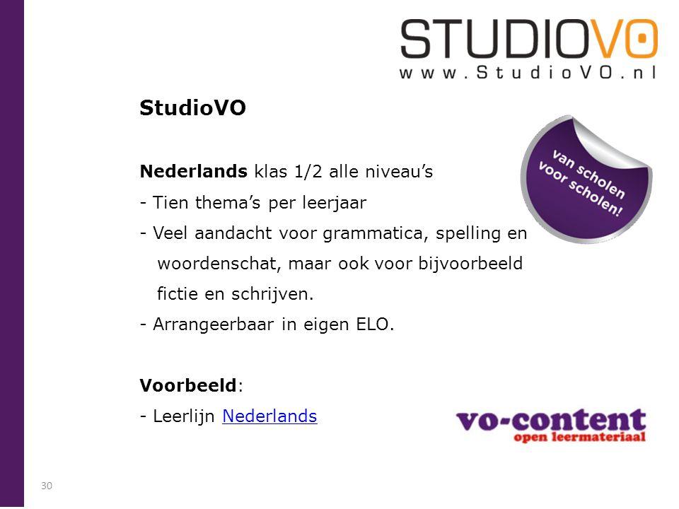 StudioVO Nederlands klas 1/2 alle niveau's Tien thema's per leerjaar