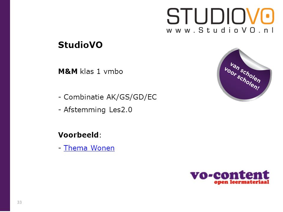 StudioVO M&M klas 1 vmbo Combinatie AK/GS/GD/EC Afstemming Les2.0