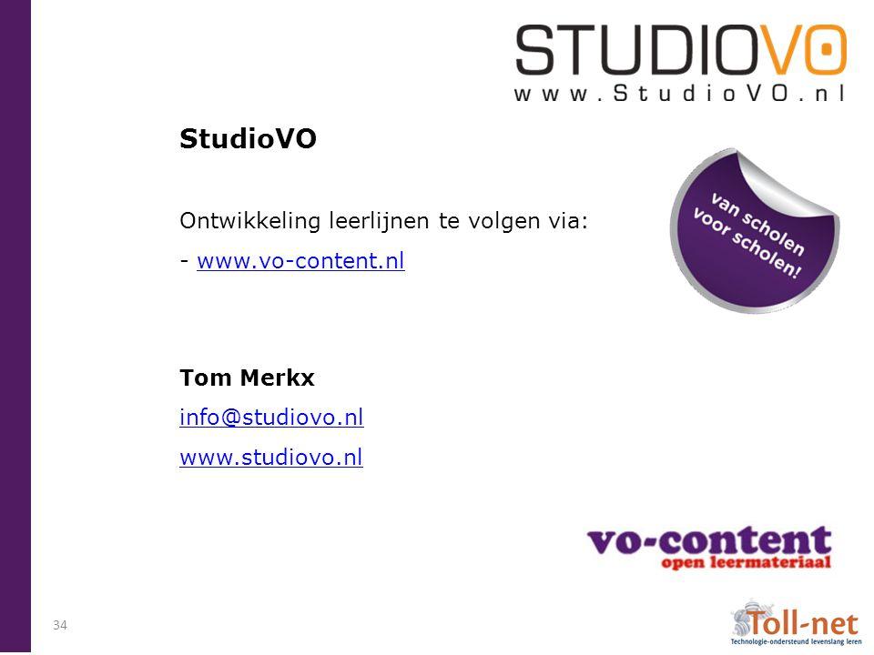 StudioVO Ontwikkeling leerlijnen te volgen via: - www.vo-content.nl