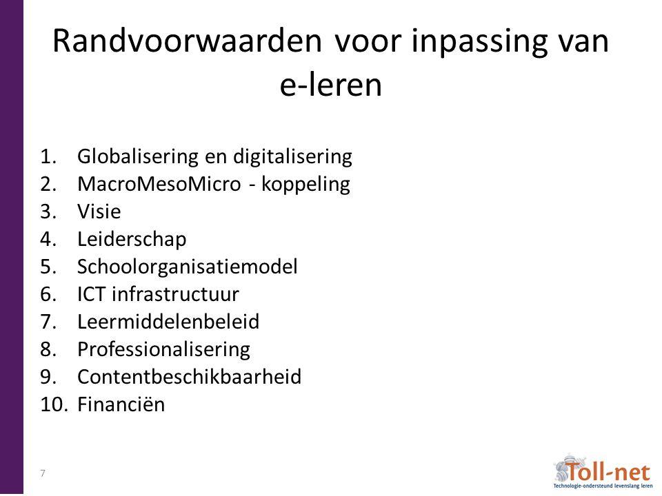Randvoorwaarden voor inpassing van e-leren