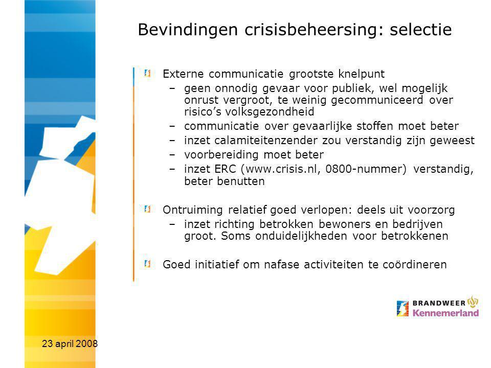 Bevindingen crisisbeheersing: selectie