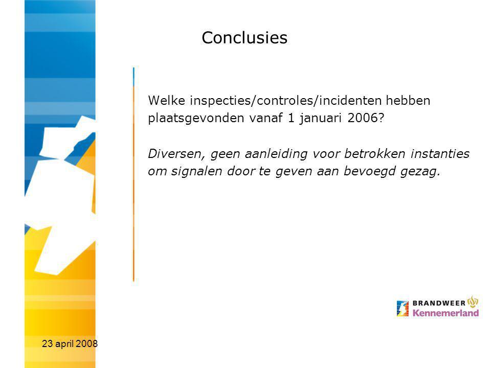 Conclusies Welke inspecties/controles/incidenten hebben