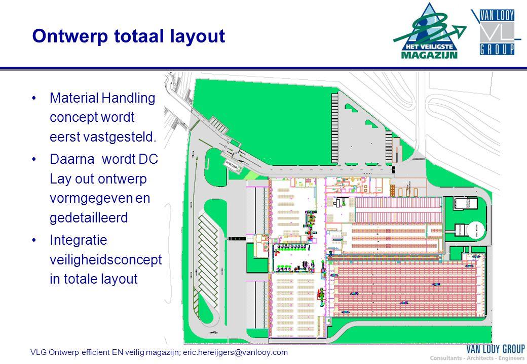 Ontwerp totaal layout Material Handling concept wordt eerst vastgesteld. Daarna wordt DC Lay out ontwerp vormgegeven en gedetailleerd.