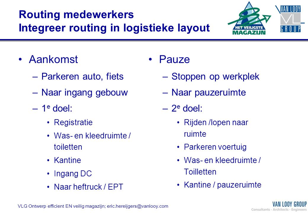 Routing medewerkers Integreer routing in logistieke layout