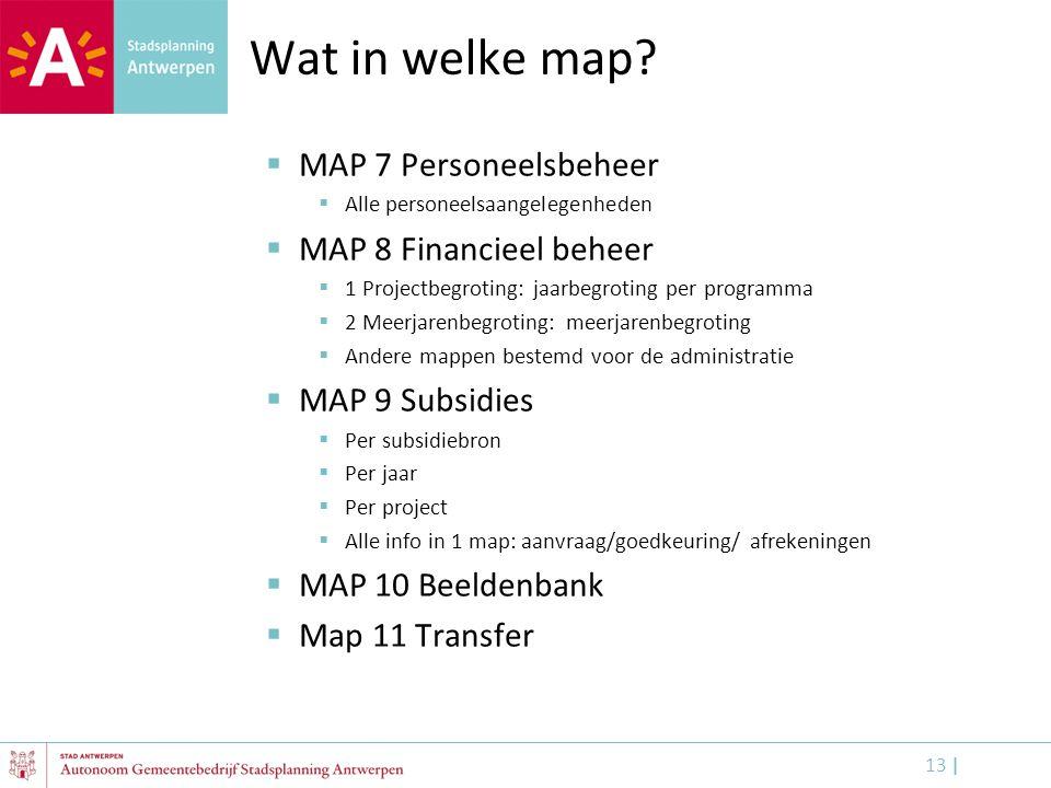 Wat in welke map MAP 7 Personeelsbeheer MAP 8 Financieel beheer