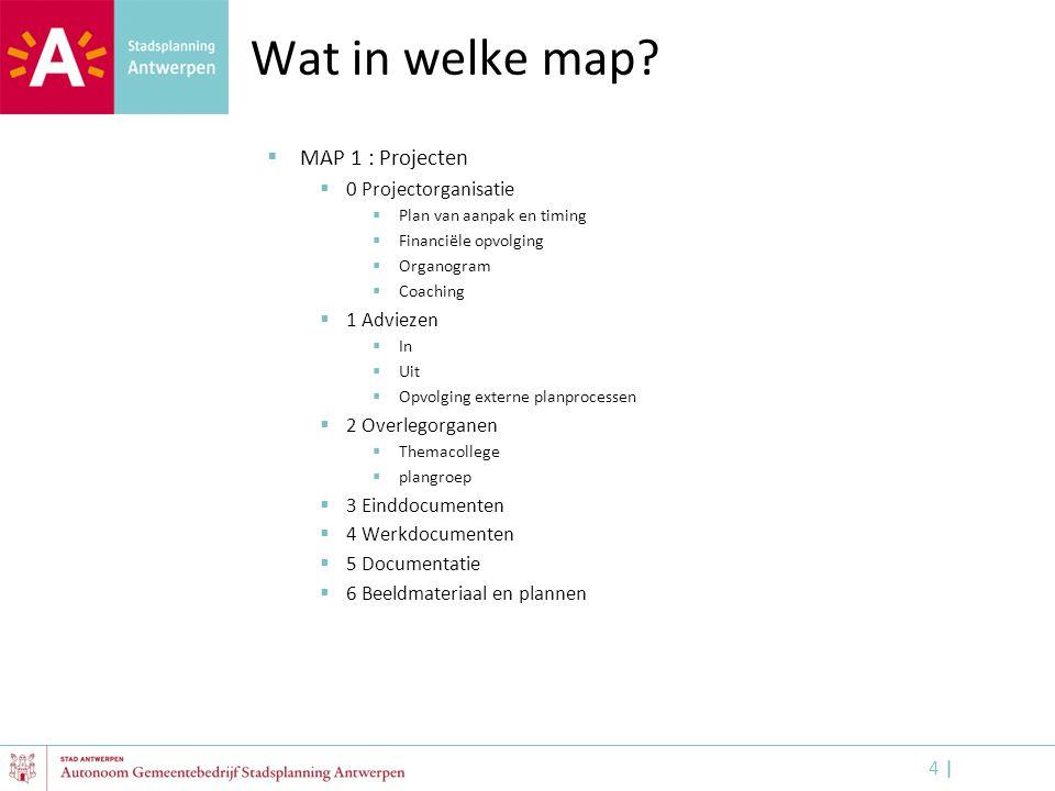 Wat in welke map MAP 1 : Projecten 0 Projectorganisatie 1 Adviezen