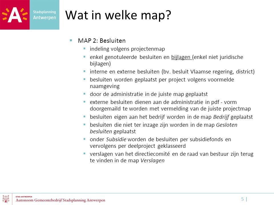 Wat in welke map MAP 2: Besluiten indeling volgens projectenmap