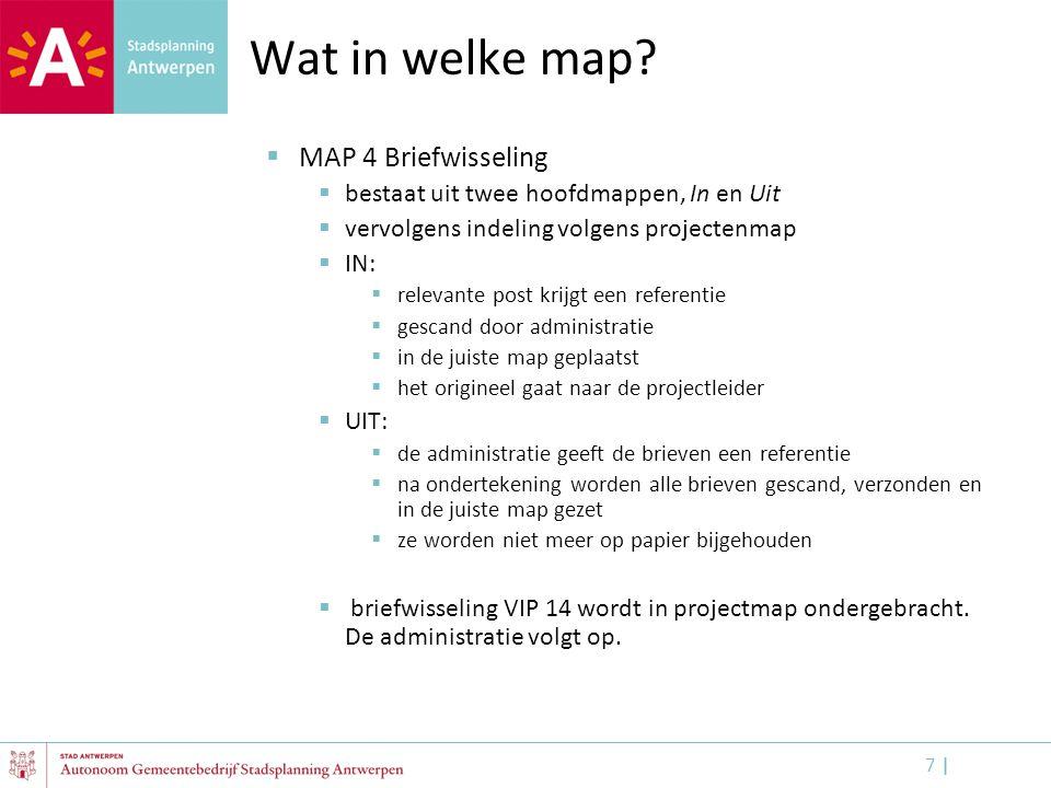 Wat in welke map MAP 4 Briefwisseling