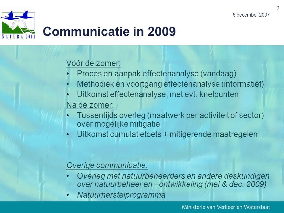 Communicatie in 2009 Vóór de zomer: