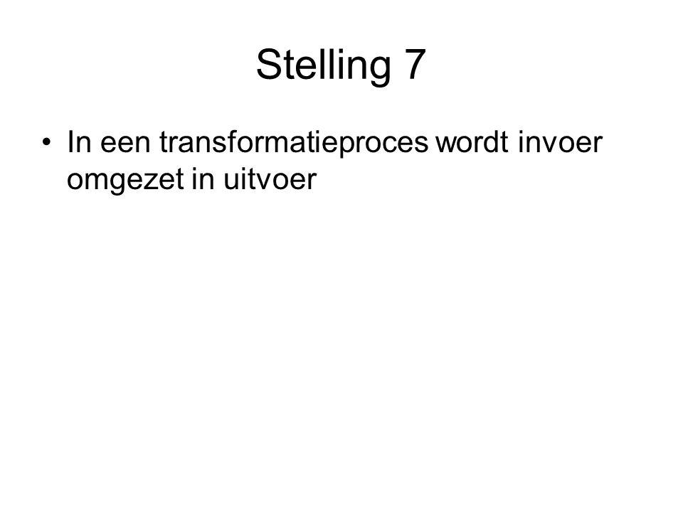 Stelling 7 In een transformatieproces wordt invoer omgezet in uitvoer