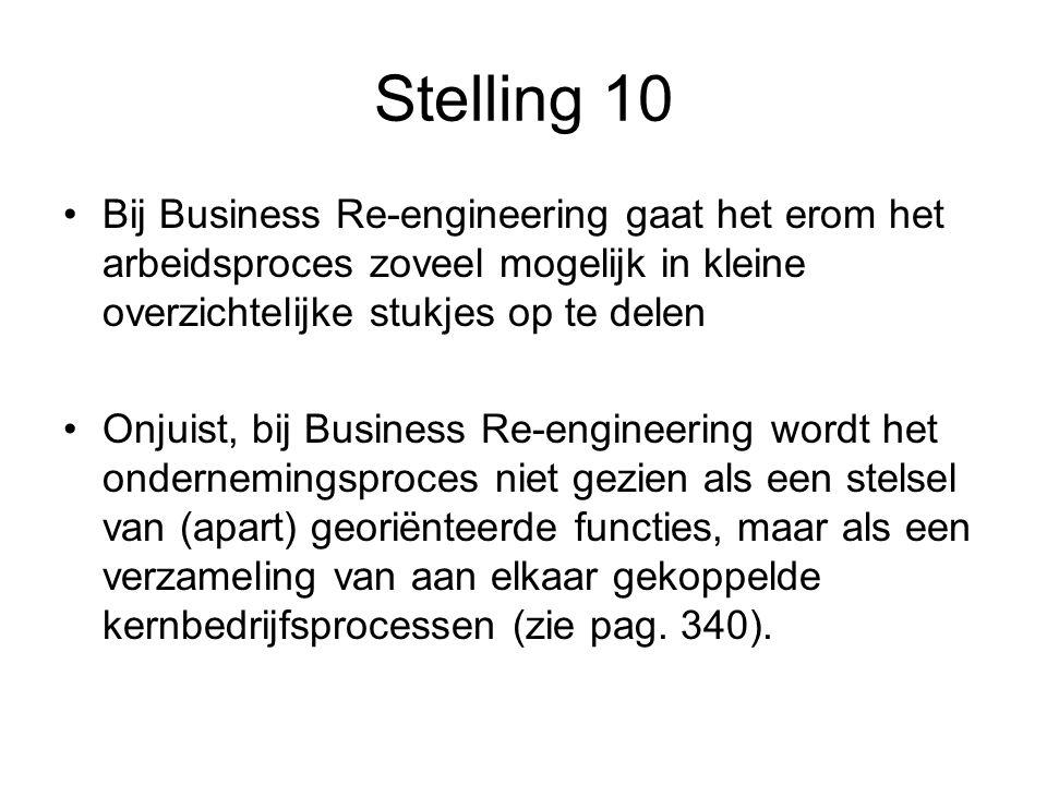 Stelling 10 Bij Business Re-engineering gaat het erom het arbeidsproces zoveel mogelijk in kleine overzichtelijke stukjes op te delen.