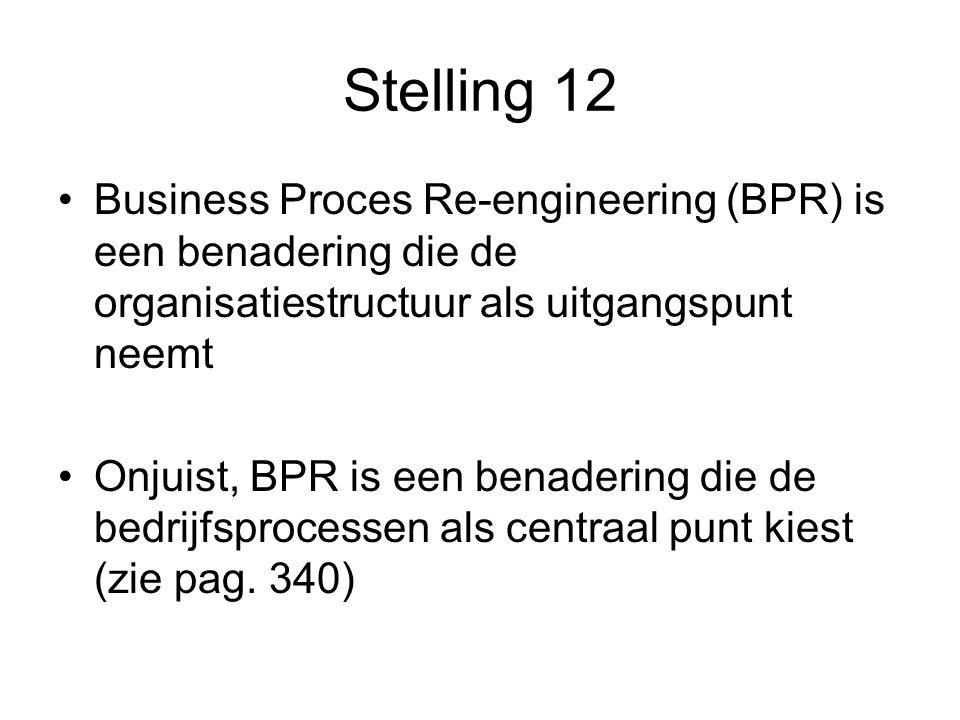 Stelling 12 Business Proces Re-engineering (BPR) is een benadering die de organisatiestructuur als uitgangspunt neemt.