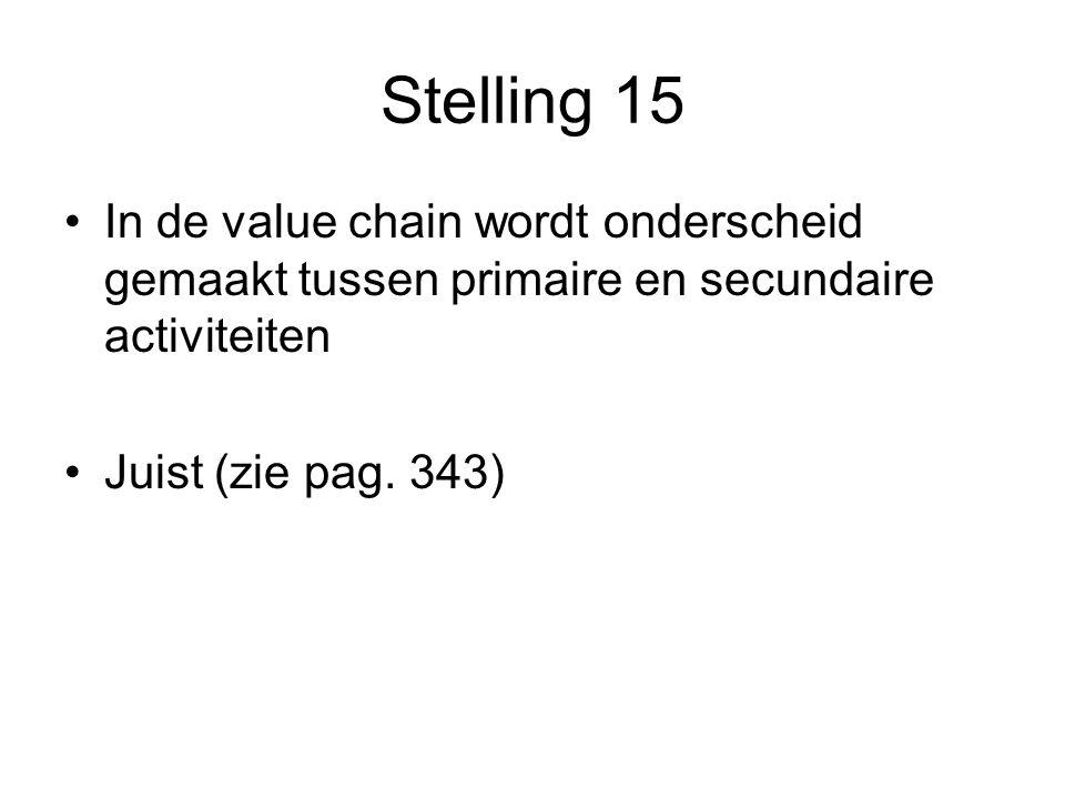 Stelling 15 In de value chain wordt onderscheid gemaakt tussen primaire en secundaire activiteiten.
