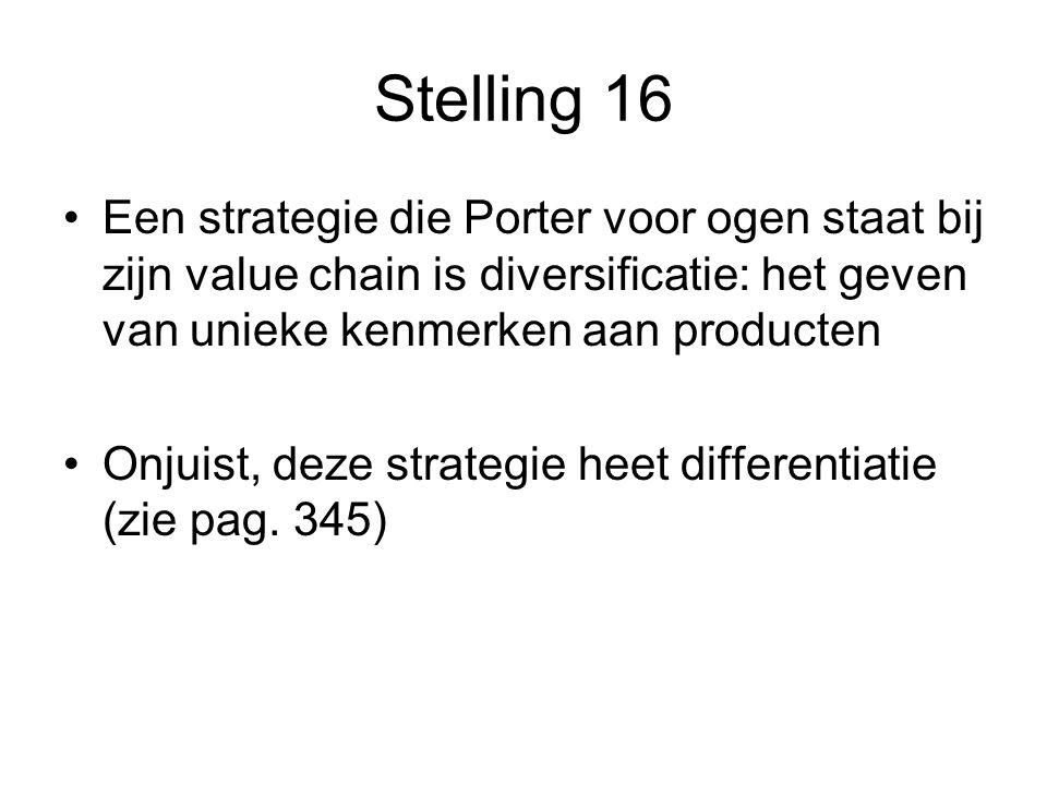 Stelling 16 Een strategie die Porter voor ogen staat bij zijn value chain is diversificatie: het geven van unieke kenmerken aan producten.