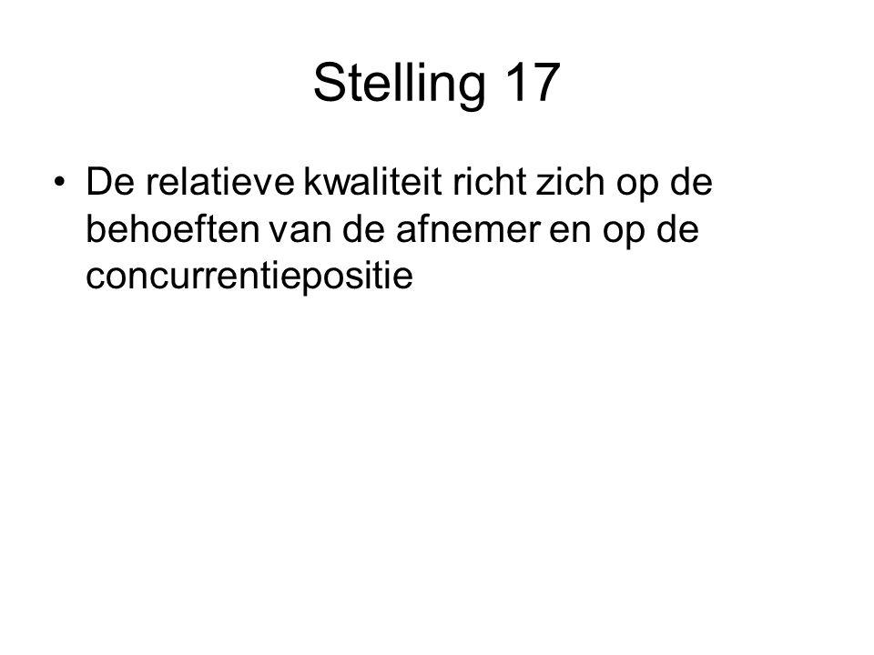 Stelling 17 De relatieve kwaliteit richt zich op de behoeften van de afnemer en op de concurrentiepositie.
