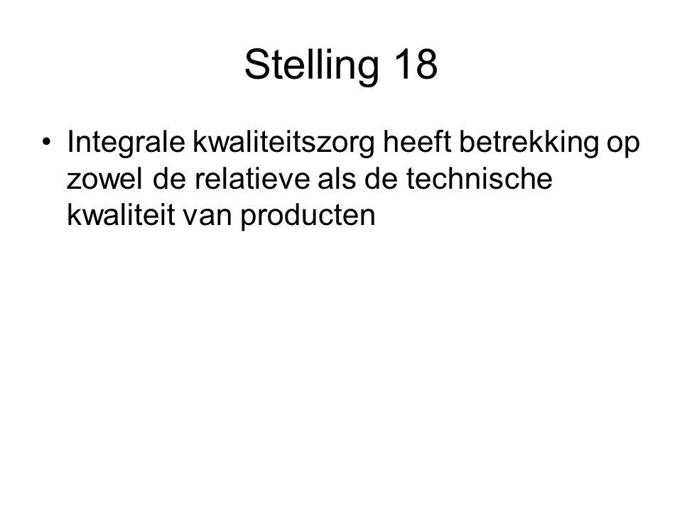 Stelling 18 Integrale kwaliteitszorg heeft betrekking op zowel de relatieve als de technische kwaliteit van producten.