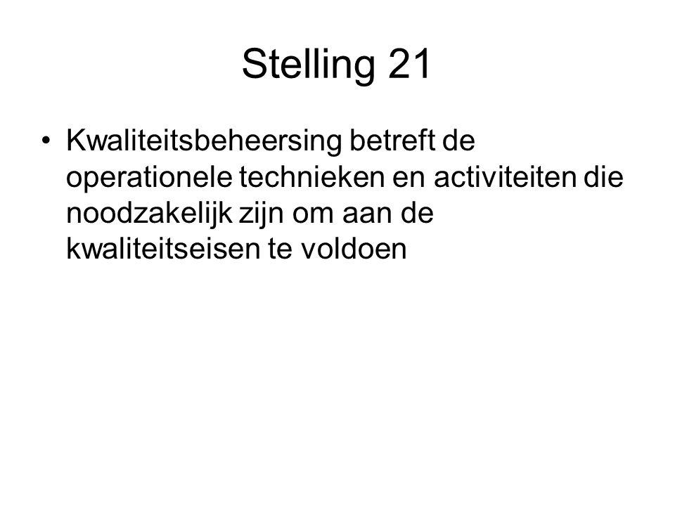 Stelling 21 Kwaliteitsbeheersing betreft de operationele technieken en activiteiten die noodzakelijk zijn om aan de kwaliteitseisen te voldoen.