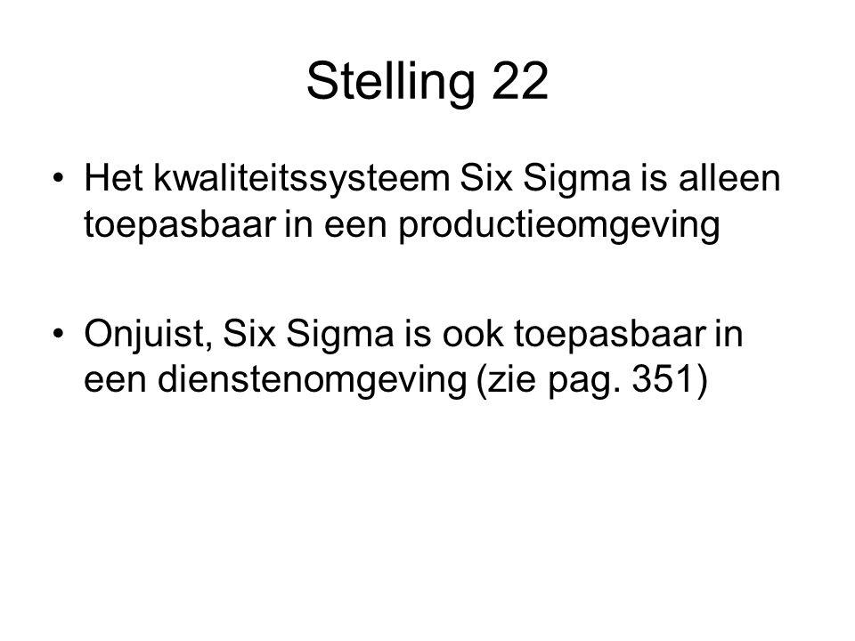 Stelling 22 Het kwaliteitssysteem Six Sigma is alleen toepasbaar in een productieomgeving.