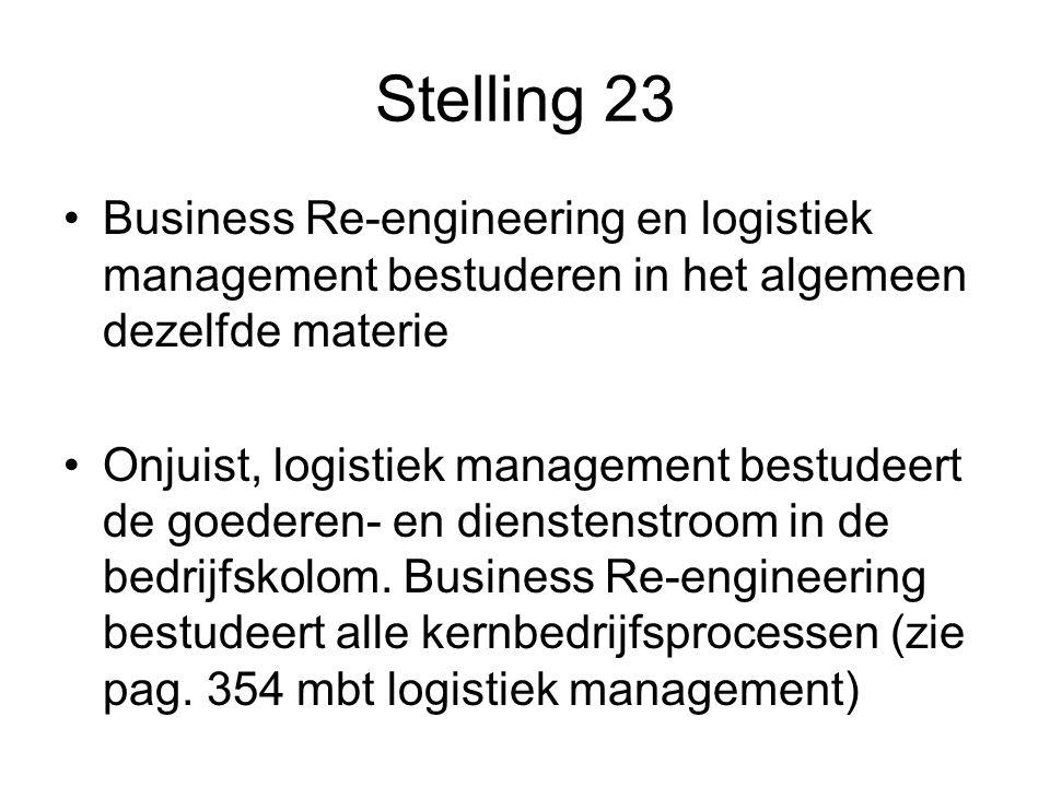 Stelling 23 Business Re-engineering en logistiek management bestuderen in het algemeen dezelfde materie.