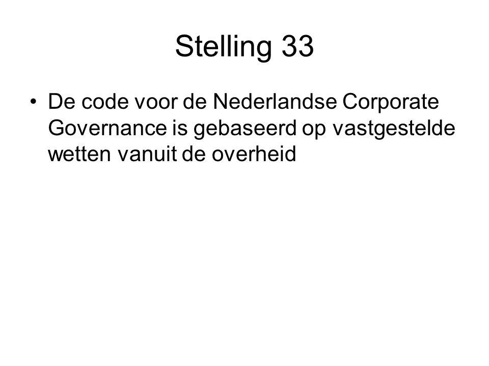 Stelling 33 De code voor de Nederlandse Corporate Governance is gebaseerd op vastgestelde wetten vanuit de overheid.