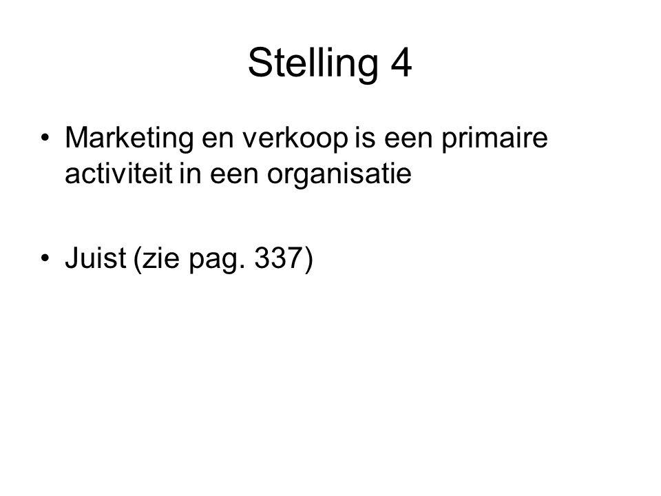 Stelling 4 Marketing en verkoop is een primaire activiteit in een organisatie Juist (zie pag. 337)