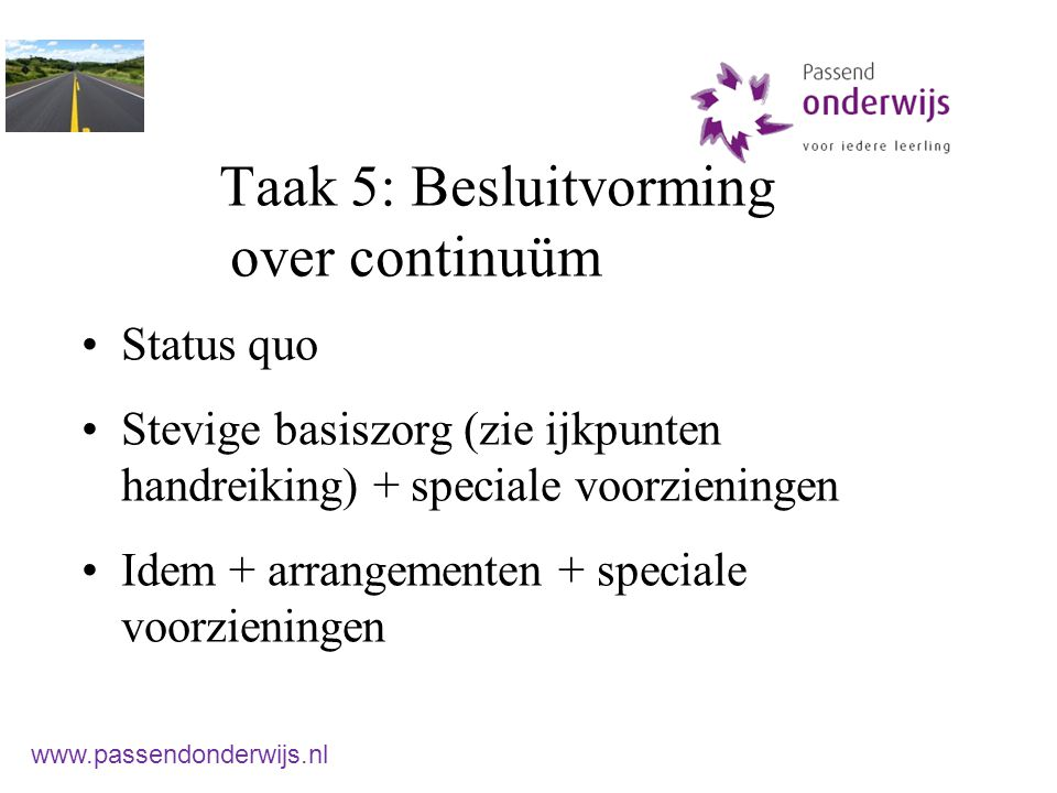 Taak 5: Besluitvorming over continuüm