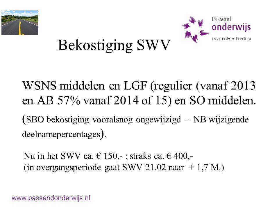 Bekostiging SWV WSNS middelen en LGF (regulier (vanaf 2013 en AB 57% vanaf 2014 of 15) en SO middelen.
