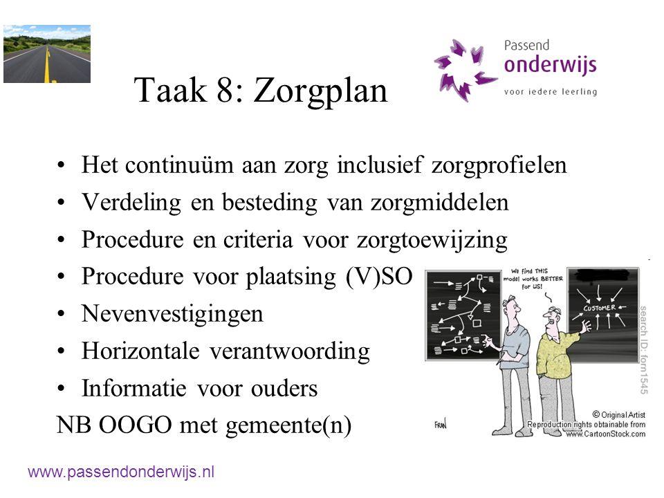 Taak 8: Zorgplan Het continuüm aan zorg inclusief zorgprofielen