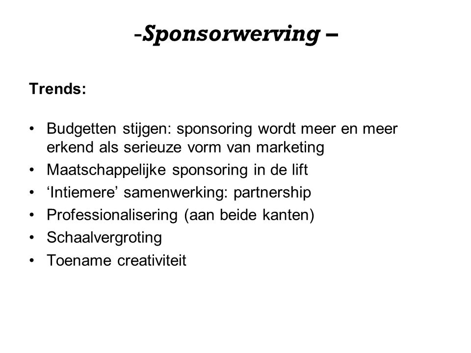 Sponsorwerving – Trends:
