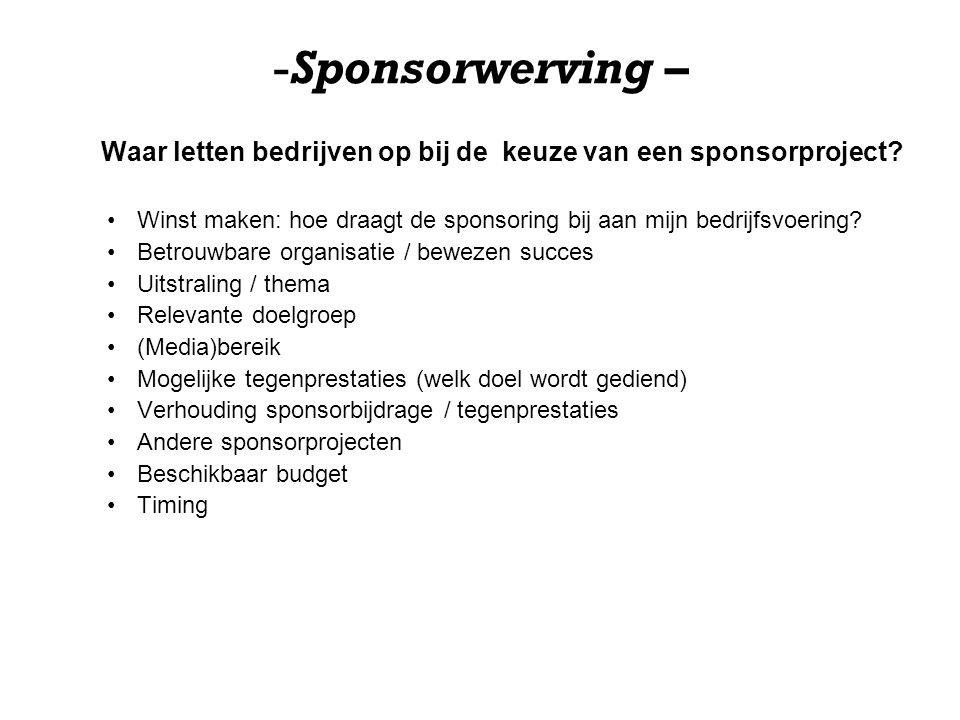Waar letten bedrijven op bij de keuze van een sponsorproject