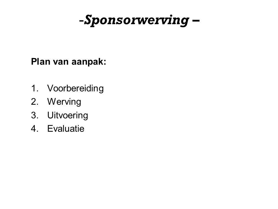 Sponsorwerving – Plan van aanpak: Voorbereiding Werving Uitvoering