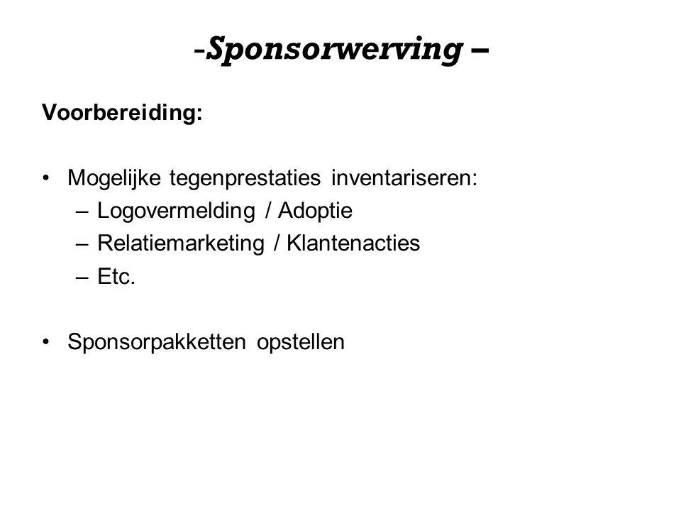 Sponsorwerving – Voorbereiding: