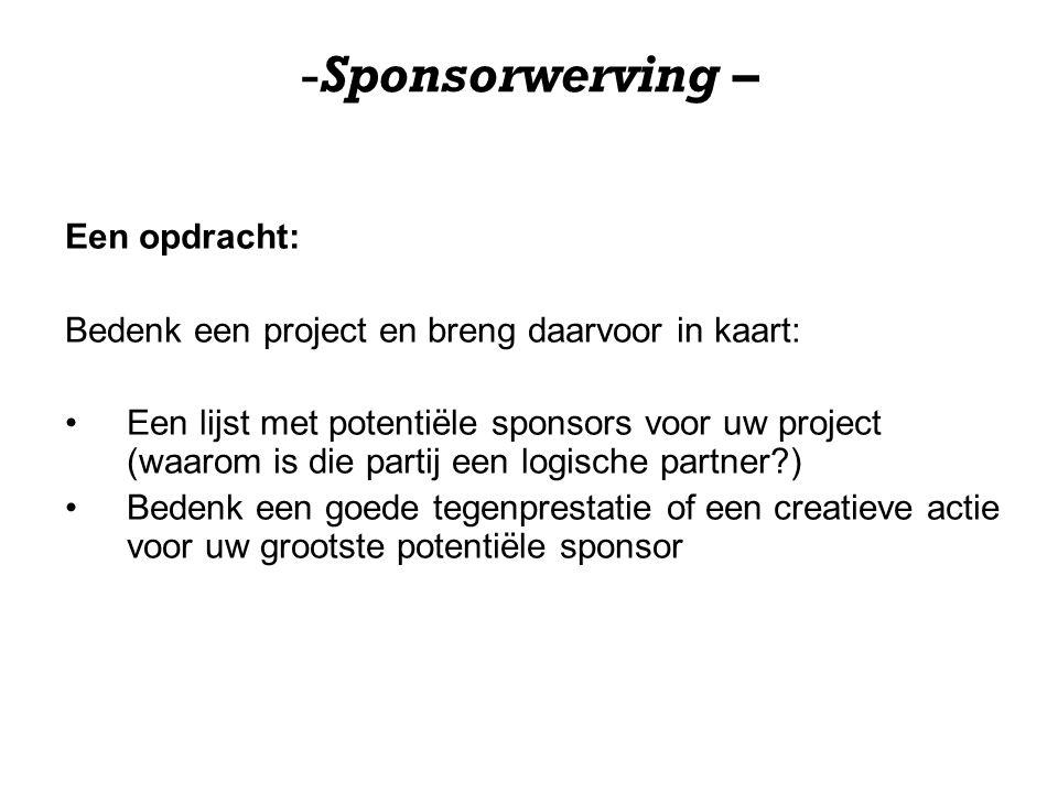 Sponsorwerving – Een opdracht: