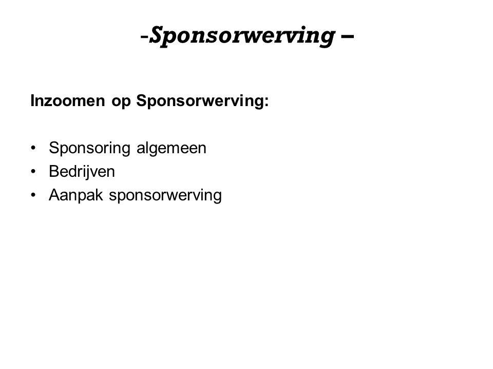 Sponsorwerving – Inzoomen op Sponsorwerving: Sponsoring algemeen