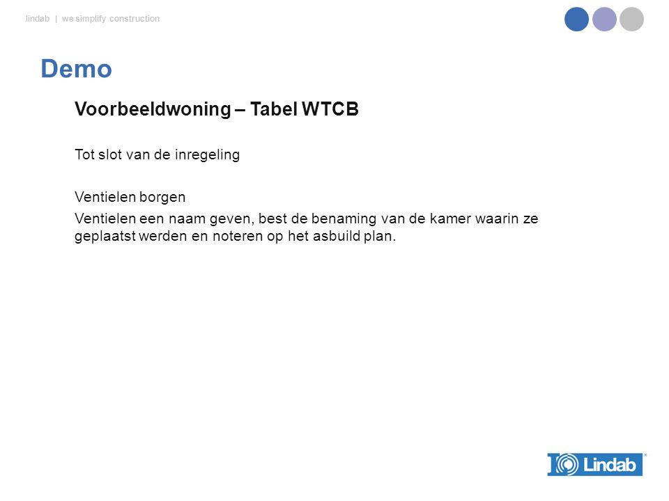 Demo Voorbeeldwoning – Tabel WTCB Tot slot van de inregeling