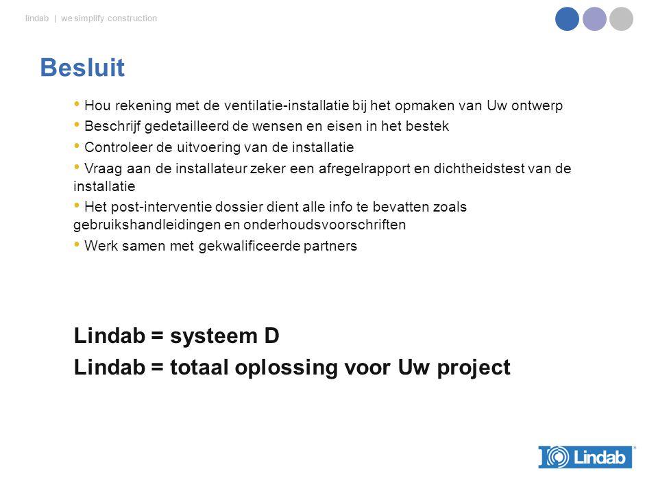 Besluit Lindab = systeem D Lindab = totaal oplossing voor Uw project