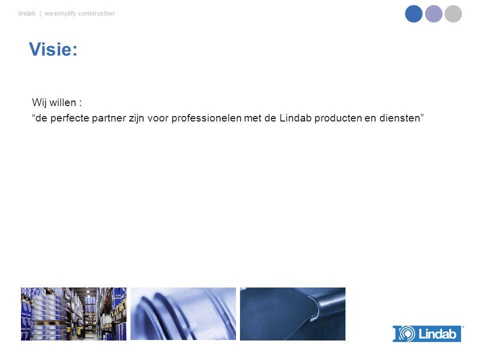 Visie: Wij willen : de perfecte partner zijn voor professionelen met de Lindab producten en diensten
