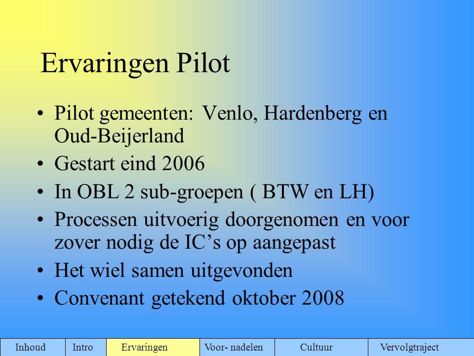 Ervaringen Pilot Pilot gemeenten: Venlo, Hardenberg en Oud-Beijerland