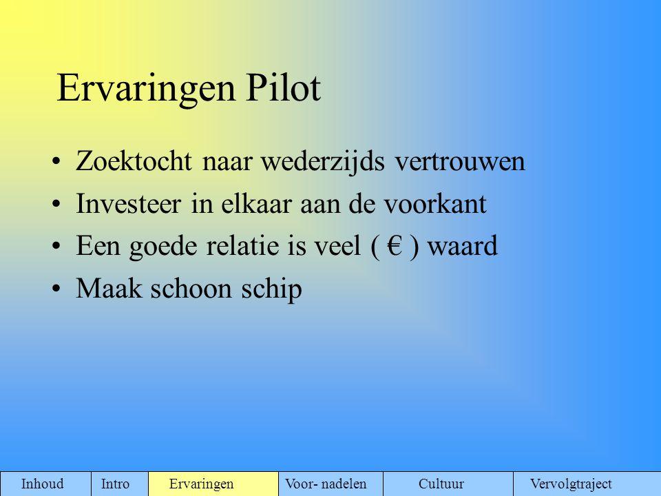 Ervaringen Pilot Zoektocht naar wederzijds vertrouwen
