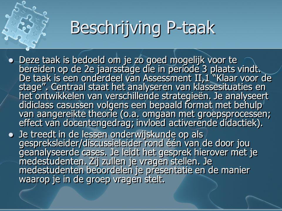 Beschrijving P-taak