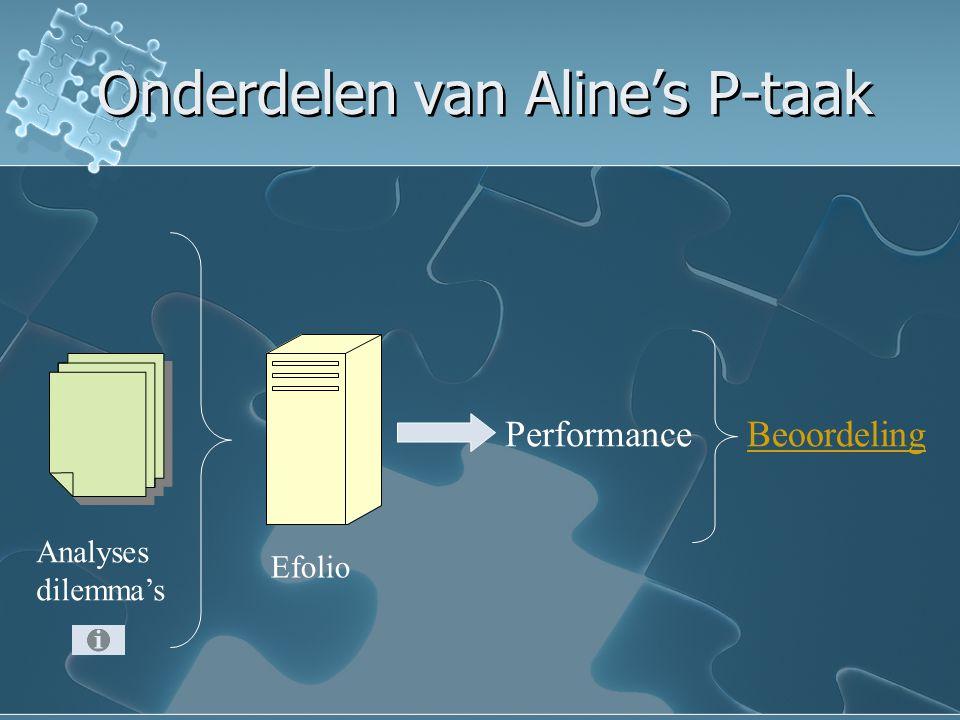 Onderdelen van Aline's P-taak
