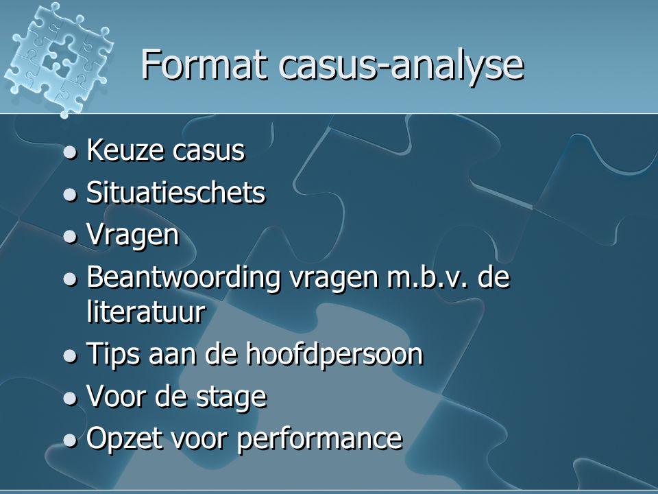 Format casus-analyse Keuze casus Situatieschets Vragen