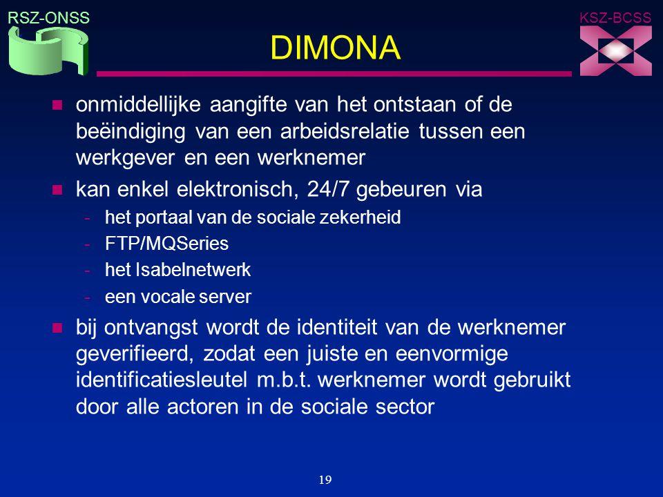 DIMONA onmiddellijke aangifte van het ontstaan of de beëindiging van een arbeidsrelatie tussen een werkgever en een werknemer.