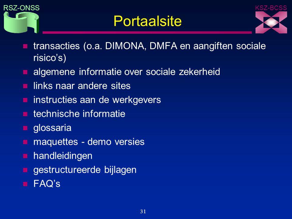 Portaalsite transacties (o.a. DIMONA, DMFA en aangiften sociale risico's) algemene informatie over sociale zekerheid.