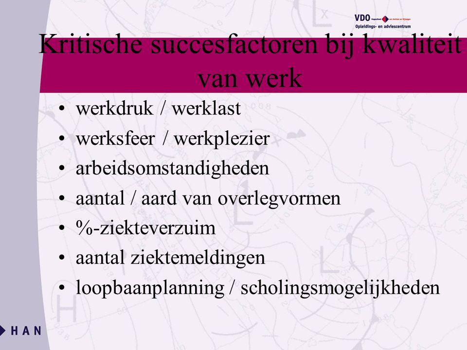Kritische succesfactoren bij kwaliteit van werk